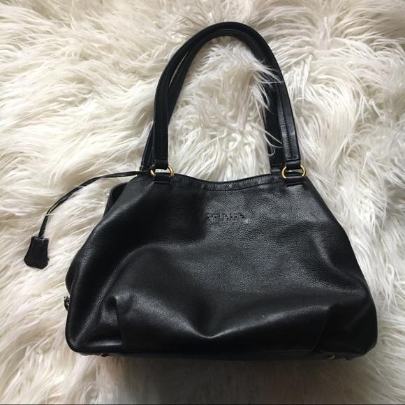 1b04de3b618d Authentic Prada Large Black Leather Shoulder Bag. M 5af79d42331627704bf170b3
